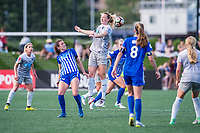 Boston, MA - Saturday June 24, 2017: Morgan Andrews and Samantha Mewis during a regular season National Women's Soccer League (NWSL) match between the Boston Breakers and the North Carolina Courage at Jordan Field.