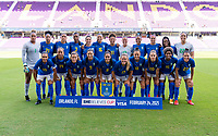 ORLANDO, FL - FEBRUARY 24: Brazil lines up during their national anthem before a game between Brazil and Canada at Exploria Stadium on February 24, 2021 in Orlando, Florida.