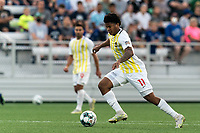 HARTFORD, CT - AUGUST 17: Nicque Daley #11 of Charleston Battery on the attack during a game between Charleston Battery and Hartford Athletic at Dillon Stadium on August 17, 2021 in Hartford, Connecticut.