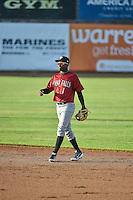 D.J. Burt (1) of the Idaho Falls Chukars on defense against the Ogden Raptors in Pioneer League action at Lindquist Field on June 22, 2015 in Ogden, Utah.The Chukars defeated the Raptors 4-3 in 11 innings.  (Stephen Smith/Four Seam Images)