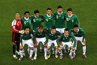 The Mexico team line up before the game against France