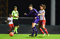 Elke Van Gorp  (7) of Anderlecht pictured in a duel with Amber De Priester (6) of Zulte-Waregem during a female soccer game between RSC Anderlecht Dames and SV Zulte Waregem on the 10 th matchday of the 2020 - 2021 season of Belgian Womens Super League , friday 18 th of December 2020  in Tubize , Belgium . PHOTO SPORTPIX.BE | SPP | DAVID CATRY