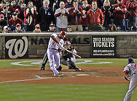 12 October 2012: Washington Nationals second baseman Danny Espinosa in action during Postseason Playoff Game 5 of the National League Divisional Series against the St. Louis Cardinals at Nationals Park in Washington, DC. The Cardinals stunned the home team with a four-run rally in the 9th inning to defeat the Nationals 9-7 and win the NLDS, moving on to the NL Championship Series. Mandatory Credit: Ed Wolfstein Photo