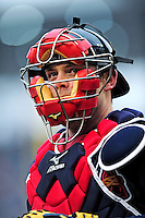 31 March 2011: Atlanta Braves catcher Brian McCann in action on Opening Day against the Washington Nationals at Nationals Park in Washington, District of Columbia. The Braves shut out the Nationals 2-0 to start off the 2011 Major League Baseball season. Mandatory Credit: Ed Wolfstein Photo