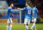 St Johnstone v Hamilton Accies…10.11.18…   McDiarmid Park    SPFL<br />Drey Wright celebrates his deflected goal with David Wotherspoon<br />Picture by Graeme Hart. <br />Copyright Perthshire Picture Agency<br />Tel: 01738 623350  Mobile: 07990 594431