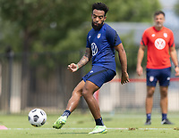 FRISCO, TX - JULY 20: Eryk Williamson passes the ball during a training session at Toyota Soccer Center FC Dallas on July 20, 2021 in Frisco, Texas.