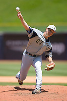 Relief pitcher Andrew Robinson #27 of the Georgia Tech Yellow Jackets in action versus the Boston College Eagles at Durham Bulls Athletic Park May 21, 2009 in Durham, North Carolina.  (Photo by Brian Westerholt / Four Seam Images)