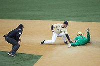 Spencer Myers (2) of the Notre Dame Fighting Irish steals second base ahead of the tag from Michael Turconi (6) of the Wake Forest Demon Deacons as umpire Derek Mollica looks on at David F. Couch Ballpark on March 10, 2019 in  Winston-Salem, North Carolina. The Demon Deacons defeated the Fighting Irish 7-4 in game one of a double-header.  (Brian Westerholt/Four Seam Images)