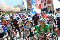 22nd April 2021;  Cycling Tour des Alpes Stage 4, Naturns/Naturno to Pieve di Bono, Italy on 22nd; In Green, Simon Yates Team BikeExchange who held onto the tour leaders jersey