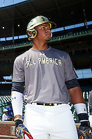 Austin James (23) of Bloomingdale High School in Valrico, Florida during the Under Armour All-American Game on August 15, 2015 at Wrigley Field in Chicago, Illinois. (Mike Janes/Four Seam Images)