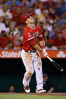Mike Trout #27 of the Los Angeles Angels bats against the Oakland Athletics at Angel Stadium on September 10, 2012 in Anaheim, California. Oakland defeated Los Angeles 3-1. (Larry Goren/Four Seam Images)