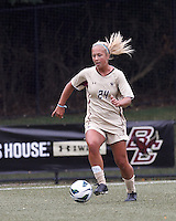 Boston College forward Rachel Davitt (24) brings the ball forward. After two overtime periods, Boston College tied University of Central Florida, 2-2, at Newton Campus Field, September 9, 2012.