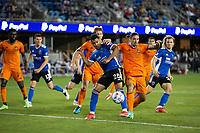 SAN JOSE, CA - JULY 24: Andrés Ríos #25 during a game between Houston Dynamo and San Jose Earthquakes at PayPal Stadium on July 24, 2021 in San Jose, California.