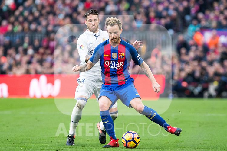 FC Barcelona's Ivan Rakitic, Real Madrid's Sergio Ramos during spanish La Liga match between Futbol Club Barcelona and Real Madrid  at Camp Nou Stadium in Barcelona , Spain. Decembe r03, 2016. (ALTERPHOTOS/Rodrigo Jimenez)