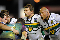 Soane Tonga'uiha (right) and Dylan Hartley of Northampton Saints scrum down during the LV= Cup second round match between Ospreys and Northampton Saints at Riverside Hardware Brewery Field, Bridgend (Photo by Rob Munro)