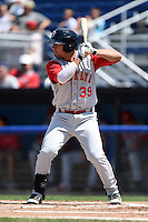 Brooklyn Cyclones outfielder Michael Conforto (39) at bat during a game against the Batavia Muckdogs on August 10, 2014 at Dwyer Stadium in Batavia, New York.  Brooklyn defeated Batavia 5-2.  (Mike Janes/Four Seam Images)