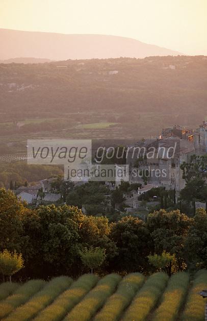 Europe/France/Provence-Alpes-Côte d'Azur/84/Vaucluse/Bonnieux: Le village vu depuis la Bastide de Capelongue