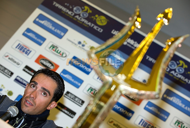 Alberto Contador (ESP) pictured with the winner's trophy at press conference to launch the 2015 Tirreno-Adriatico cycle race held in Lido di Camaiore, Lucca, Italy. 10th March 2015. Photo: ANSA/Claudio Peri/www.newsfile.ie