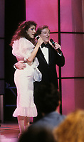 Montreal (Qc) CANADA - circa 1988 File Photo -<br /> <br /> Celine Dion and Jean Lapointe at his telethon<br /> <br /> -Photo (c)  Images Distribution