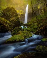 Elowah Falls after a heavy rain in Oregon's Columbia Gorge.