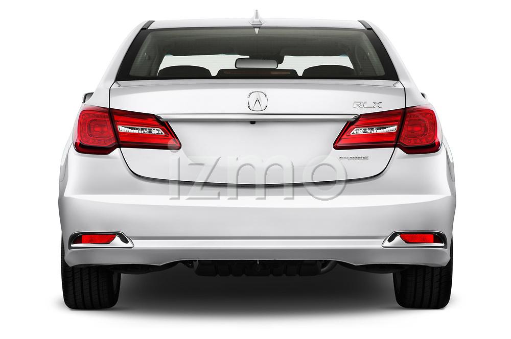 Straight rear view of 2014-2016 Acura RLX Base 4 Door Sedan stock images