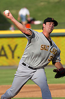 Salt Lake Bees pitcher Jarrett Grube (39) delivers a pitch to the plate during the Pacific Coast League baseball game against the Round Rock Express on August 10, 2013 at the Dell Diamond in Round Rock, Texas. Round Rock defeated Salt Lake 9-6. (Andrew Woolley/Four Seam Images)