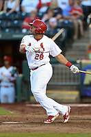 Springfield Cardinals first baseman Jonathan Rodriguez (28) at bat during a game against the Frisco Rough Riders on June 1, 2014 at Hammons Field in Springfield, Missouri.  Springfield defeated Frisco 3-2.  (Mike Janes/Four Seam Images)