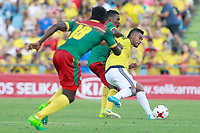 Colombia's Miguel Borja (r) and Cameroon's Robert Ndip Tambe (l) and Jonathan Ngwem during international friendly match. June 13,2017.(ALTERPHOTOS/Acero) (NortePhoto.com) (NortePhoto.com)