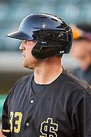 Scott Schebler (33) of the Salt Lake Bees waits to bat against the Tacoma Rainiers at Smith's Ballpark on May 13, 2021 in Salt Lake City, Utah. The Rainiers defeated the Bees 15-5. (Stephen Smith/Four Seam Images)