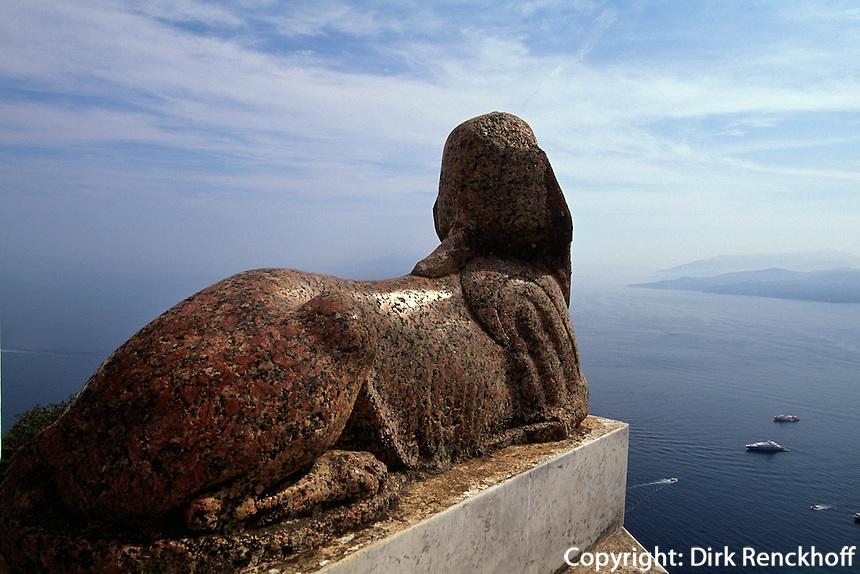 Villa San Michele in Anacapri, ägyptische Sphinx, Capri, Italien