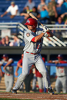 Auburn Doubledays first baseman David Kerian (21) at bat during a game against the Batavia Muckdogs on July 10, 2015 at Dwyer Stadium in Batavia, New York.  Auburn defeated Batavia 13-1.  (Mike Janes/Four Seam Images)