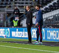 12th September 2020; Pride Park, Derby, East Midlands; English Championship Football, Derby County versus Reading; Derby County Manager Phillip Cocu and Reading Manager Veljko Paunovic on the side line during the match
