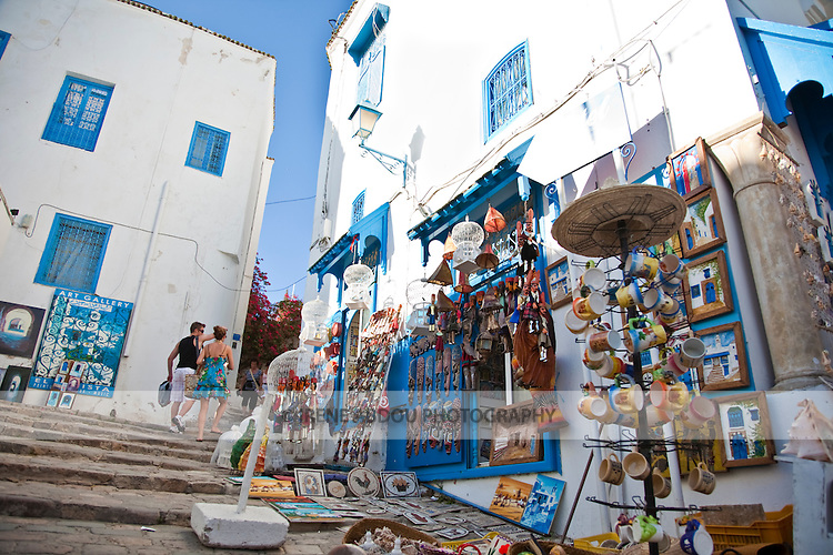 Souvenir shop in Sidi Bou Said, a charming town near the Tunisian capital of whitewashed walls and sea blue doors and windows.