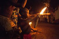 Africa, Togo, Sokodè fire dance of Them tribe, voodoo ritual -,Danza del fuoco dell'etnia Them , rito voodoo