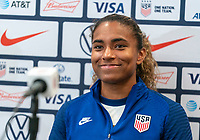 ORLANDO, FL - JANUARY 22: Catarina Macario #29 of the USWNT talks to the media on a zoom call after a game between Colombia and USWNT at Exploria stadium on January 22, 2021 in Orlando, Florida.