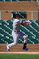 Glendale Desert Dogs second baseman Brandon Dixon (3) at bat during an Arizona Fall League game against the Surprise Saguaros on October 23, 2015 at Salt River Fields at Talking Stick in Scottsdale, Arizona.  Glendale defeated Surprise 9-6.  (Mike Janes/Four Seam Images)
