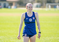 ORLANDO, FL - JANUARY 20: Rose Lavelle #16 of the USWNT laughs during a training session at the practice fields on January 20, 2021 in Orlando, Florida.