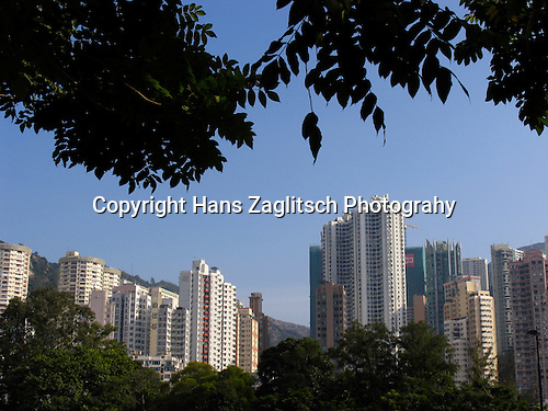 Modern skyline of Hongkong seen from Victoria Park.