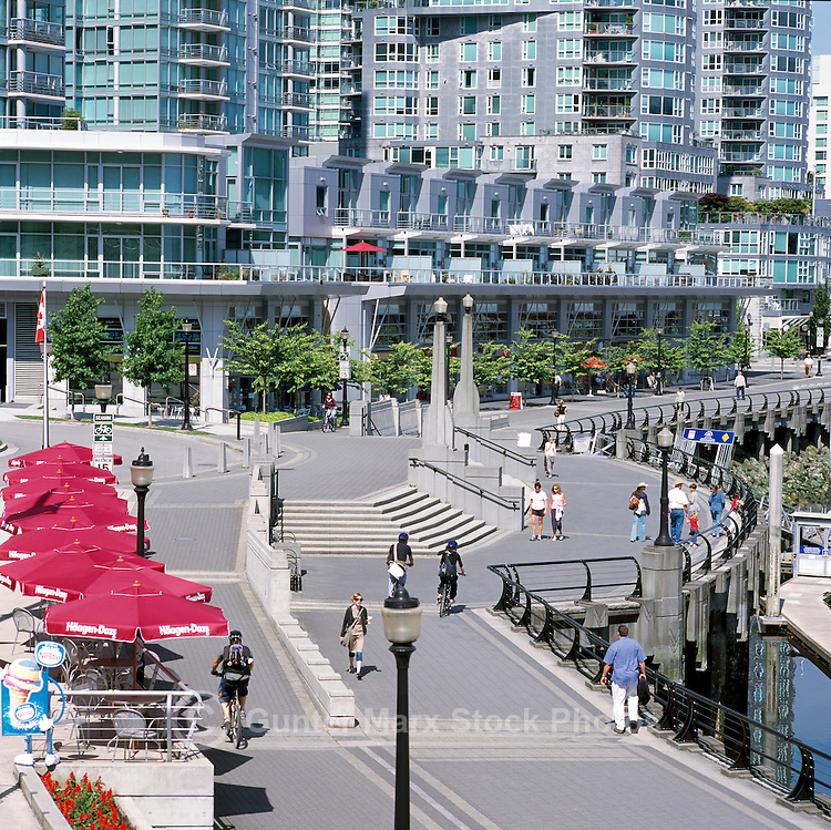 """Coal Harbour"" Seawalk and High Rise Apartment and Condominium Buildings, Downtown in the ""West End"" of Vancouver, British Columbia, Canada, in Summer."