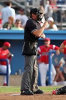 Home plate umpire Clayton Hamm makes a call during a game between the Batavia Muckdogs and Auburn Doubledays at Dwyer Stadium on June 18, 2012 in Batavia, New York.  Auburn defeated Batavia 6-5.  (Mike Janes/Four Seam Images)