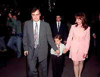 Montreal (Qc) CANADA - 1995 File Photo - April 1995 - Bloc Quebecois convention, Lucien Bouchard, son and wife Audrey BestOBT