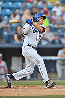 Asheville Tourists first baseman Grant Lavigne (34) swings at a pitch during a game against the Hagerstown Suns at McCormick Field on April 30, 2019 in Asheville, North Carolina. The Tourists defeated the Suns 5-4. (Tony Farlow/Four Seam Images)