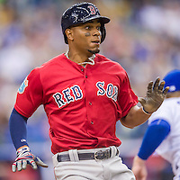 1 April 2016: Boston Red Sox infielder Xander Bogaerts in action during a pre-season exhibition series between the Toronto Blue Jays and the Boston Red Sox at Olympic Stadium in Montreal, Quebec, Canada. The Red Sox defeated the Blue Jays 4-2 in the first of two MLB weekend games, which saw an attendance of 52,682 at the former home on the Montreal Expos. Mandatory Credit: Ed Wolfstein Photo *** RAW (NEF) Image File Available ***