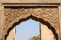 Carved Stone Archway over the Exit from the Chand Baori Step Well, Abhaneri Village, Rajasthan, India.  Built 800-900A.D.
