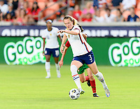 HOUSTON, TX - JUNE 10: Samantha Mewis #3 of the United States brings the ball up the field during a game between Portugal and USWNT at BBVA Stadium on June 10, 2021 in Houston, Texas.