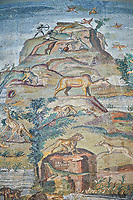 Detail picture of the source oof the Nile  from the famous Hellenistic Roman Palestrina Nilotic landscape Mosaic or Nile mosaic of Palestrina 1st or 2nd century BC. Museo Archeologico Nazionale di Palestrina Prenestino  (Palestrina Archaeological Museum), Palestrina, Italy.
