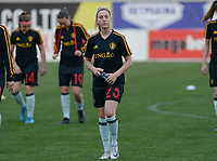 20180228 - LARNACA , CYPRUS :  Belgian Celien Guns pictured during a women's soccer game between Spain and the Belgian Red Flames , on friday 2 March 2018 at the AEK Arena in Larnaca , Cyprus . This is the second  game in group B for  Belgium during the Cyprus Womens Cup , a prestigious women soccer tournament as a preparation on the World Cup 2019 qualification duels. PHOTO SPORTPIX.BE | DAVID CATRY