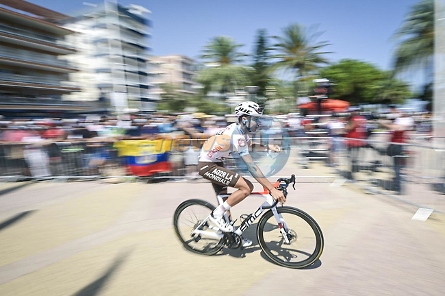 AG2R Citroen Team arrive at sign on before the start of Stage 7 of La Vuelta d'Espana 2021, running 152km from Gandia to Balcon de Alicante, Spain. 20th August 2021.     <br /> Picture: Unipublic/Charly Lopez | Cyclefile<br /> <br /> All photos usage must carry mandatory copyright credit (© Cyclefile | Charly Lopez/Unipublic)