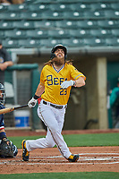 Brandon Marsh (23) of the Salt Lake Bees fouls the ball off his ankle against the Tacoma Rainiers at Smith's Ballpark on May 16, 2021 in Salt Lake City, Utah. The Bees defeated the Rainiers 8-7. (Stephen Smith/Four Seam Images)