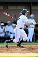 Left fielder Stephen Dowling (7) of the University of South Carolina Upstate Spartans bats in a game against the College of Charleston Cougars on Tuesday, March 31, 2015, at Cleveland S. Harley Park in Spartanburg, South Carolina. Charleston won, 10-0. (Tom Priddy/Four Seam Images)